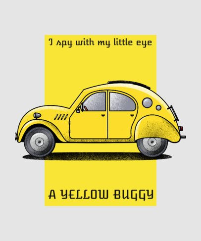 T-Shirt Design Generator Featuring a Yellow Car Inspired by the Classic Volkswagen 2847b