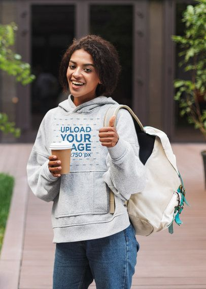 Heather Hoodie Mockup of a Young Student Doing a Thumbs Up Sign 39666-r-el2