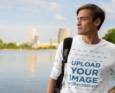 Mockup of a Man with a Heather Sweatshirt Admiring a Lake 40067-r-el2