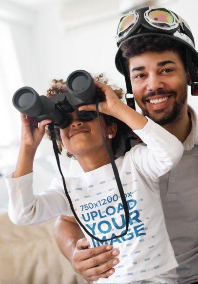 Long Sleeve Tee Mockup of a Little Girl Having an Indoor Adventure with Her Dad 41870-r-el2