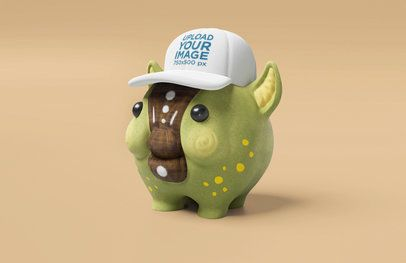 Illustrated Mockup of a Piggy Wearing a Dad Hat 42573
