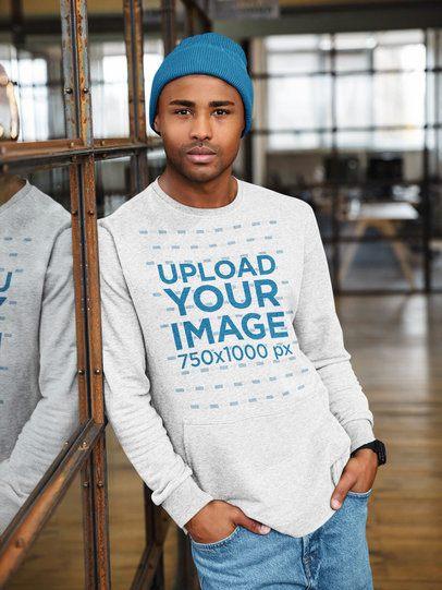 Heathered Sweatshirt Mockup of a Man Posing 39356-r-el2