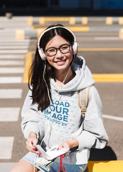 Pullover Hoodie Mockup of a Smiling Woman with Headphones 40179-r-el2