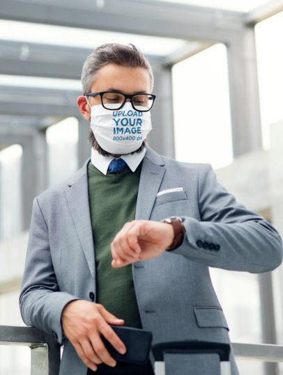 Face Mask Mockup Featuring a Man in a Suit Waiting 41606-r-el2