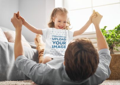 T-Shirt Mockup of a Little Girl Playing with Her Dad at Home 37590-r-el2