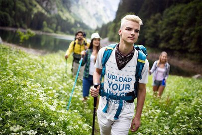 T-Shirt Mockup of a Young Man Hiking with His Friends 42061-r-el2