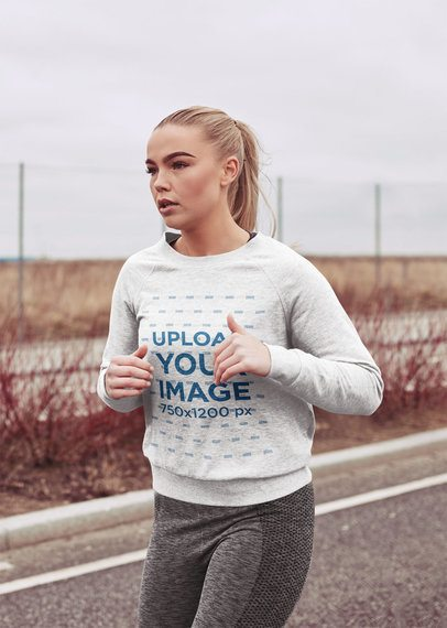 Heather Crewneck Sweatshirt Mockup of a Young Woman Running 40601-r-el2