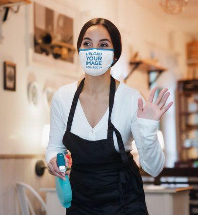 Mockup of a Waitress Wearing a Face Mask at Work 41608-r-el2