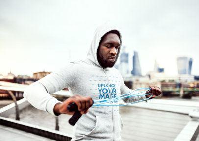 Full-Zip Hoodie Mockup of a Man Preparing to Exercise in the City 40023-r-el2