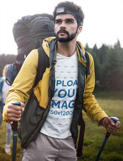 T-Shirt Mockup of a Bearded Man on a Hike 42080-r-el2