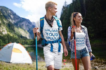 Tee and Tank Top Mockup Featuring Two Friends Hiking in the Alps 42063-r-el2