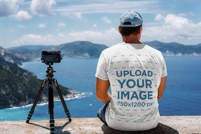 Back-View T-Shirt Mockup of a Man Enjoying the Landscape 36175-r-el2