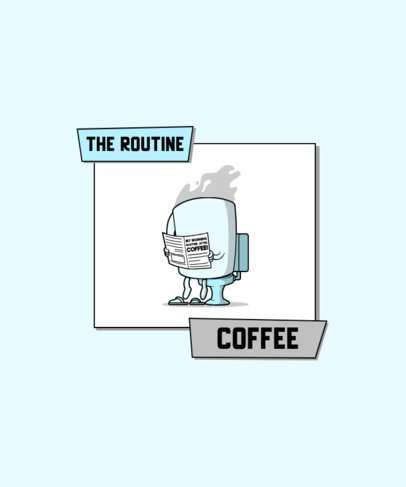 T-Shirt Design Template Featuring a Cartoonish Coffee Cup at the WC 2633h-el1