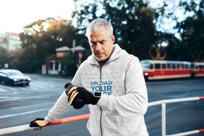Full-Zip Hoodie Mockup of a Senior Man Working Out 40930-r-el2