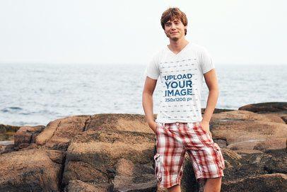 V-Neck T-Shirt Mockup of a Young Man at the Beach 40122-r-el2