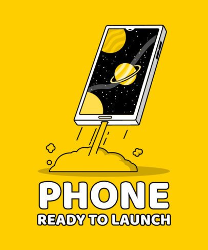 Illustrated T-Shirt Design Maker with a Launching Smartphone 2643g-el1
