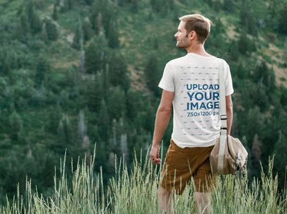 Back-View T-Shirt Mockup of a Man Hiking 39079-r-el2