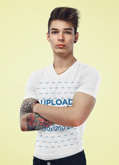V-Neck T-Shirt Mockup of a Serious Young Man Posing at a Studio 38217-r-el2