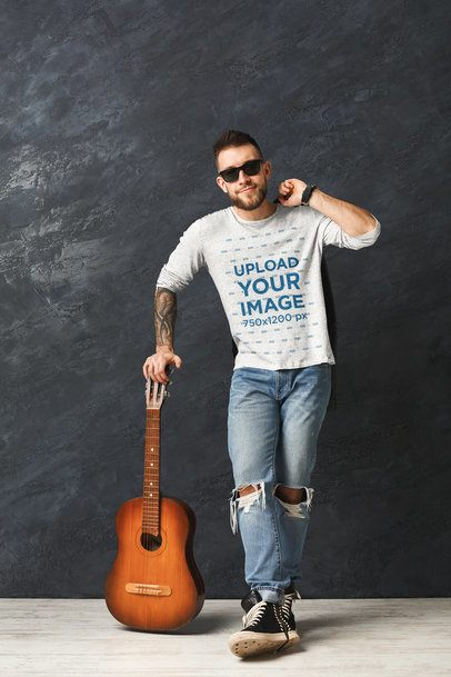 Long Sleeve Tee Mockup of a Man Posing with a Guitar 34785-r-el2