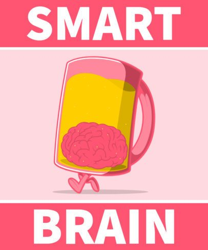 Illustrated T-Shirt Design Generator Featuring a Brain Inside a Beer Mug 2651d-el1