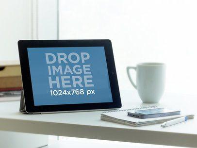 iPad Black Landscape On Desk Next To Window