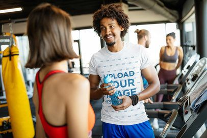 T-Shirt Mockup of a Man Chatting with a Woman at the Gym 40699-r-el2