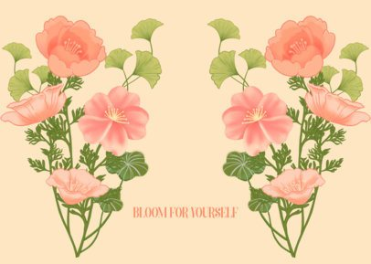 Illustrated Face Mask Design Template Featuring Wild Roses 2883h