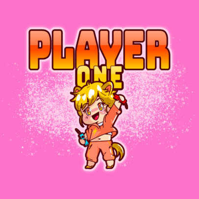 Gaming Logo Generator with a Happy Chibi Anime-Style Cartoon 3626a