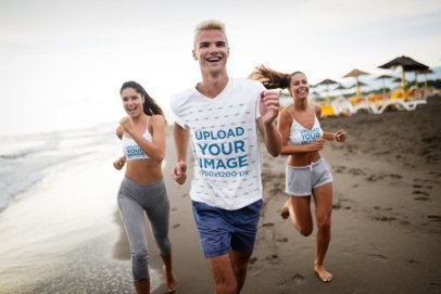 T-Shirt and Sports Bra Mockup of a Group of Friends Jogging 40687-r-el2