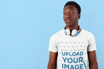 T-Shirt Mockup of a Man with Headphones in a Studio 40301-r-el2