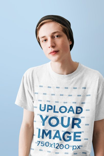 T-Shirt Mockup of a Young Man Featuring a Plain Background 39542-r-el2