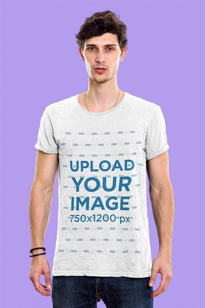 T-Shirt Mockup of a Man Doing a Simple Pose in a Studio 41685-r-el2