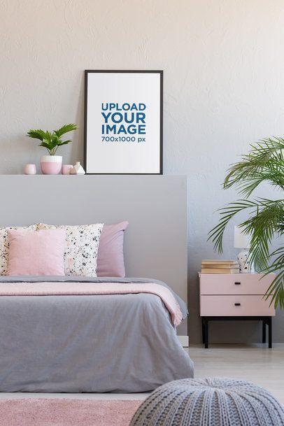 Art Print Mockup Featuring an Art Print in a Woman's Bedroom 36030-r-el2