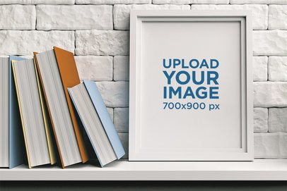 Mockup of an Art Print Placed by a Book Collection 36293-r-el2