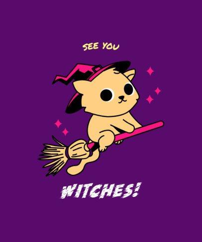 Halloween T-Shirt Design Creator Featuring a Cat Riding a Flying Broom 2897c