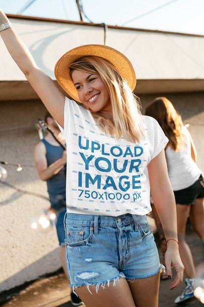 T-Shirt Mockup Featuring a Woman at a Party 41777-r-el2