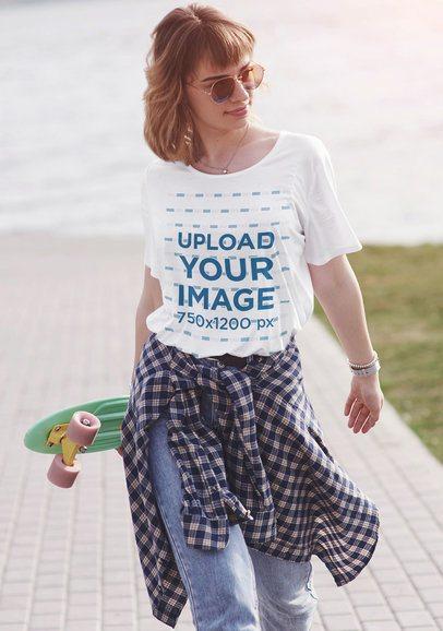 Mockup of a Skater Woman Wearing a Unisex Tee 42232-r-el2