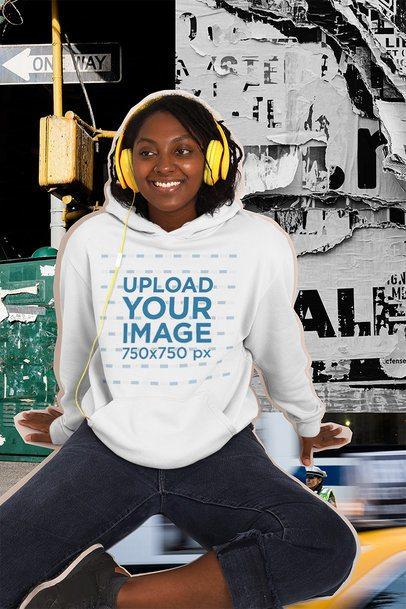Collage-Style Hoodie Mockup of a Woman Wearing Headphones 42556