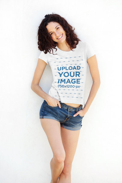 T-Shirt Mockup of a Woman Posing Leaning on a Wall 40085-r-el2