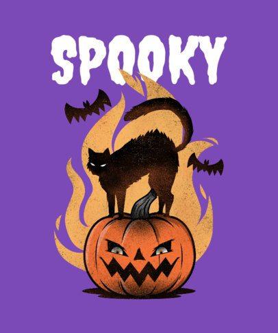 Spooky T-Shirt Design Maker Featuring a Halloween Pumpkin 2895d