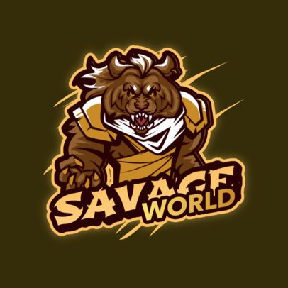 Savage Gaming Logo Maker with a Humanoid Animal Warrior Graphic 3639b