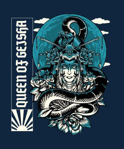 T-Shirt Design Maker Featuring a Geisha with a Snake 2760a-el1