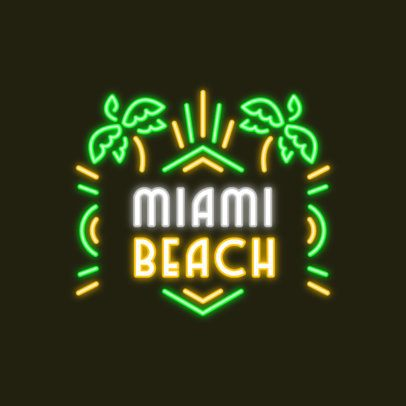 Beach-Themed Logo Maker with Neon-Colored Graphics 3633a