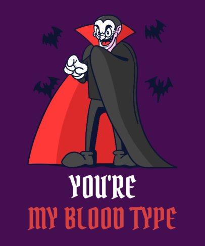 Halloween T-Shirt Design Template Featuring a Dracula Cartoon Graphic 2898b