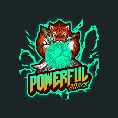 Gaming Logo Generator Featuring a Powerful Tiger Illustration 3636d