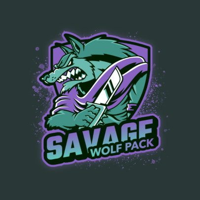 Logo Template of an Anthropomorphized Savage Werewolf 3639l