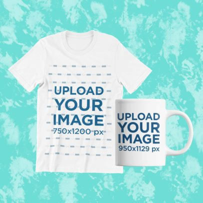 T-Shirt Mockup Featuring an 11 oz Mug and a Customizable Background 43329-r-el2