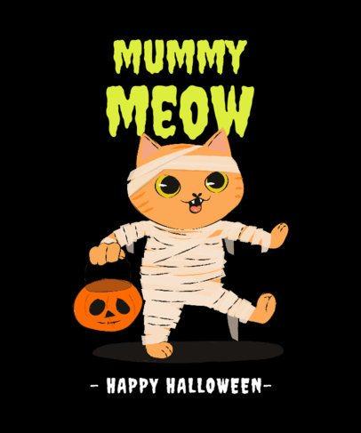 T-Shirt Design Maker with a Cute Cat in a Zombie Costume 2896d