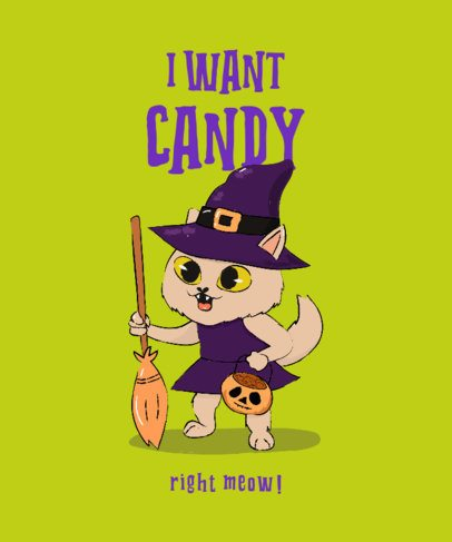 T-Shirt Design Maker with a Cute Witch Kitten 2896f
