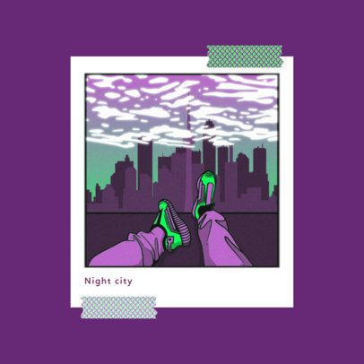 Album Cover Creator for a Retro Type Beat Musician with a Polaroid-Style Frame Illustration 3644n